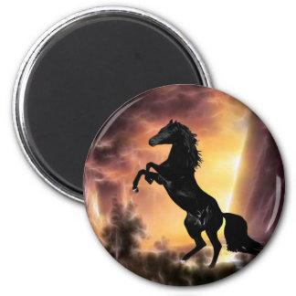 Eine friesische Stallionspferdeerrichtung Runder Magnet 5,1 Cm
