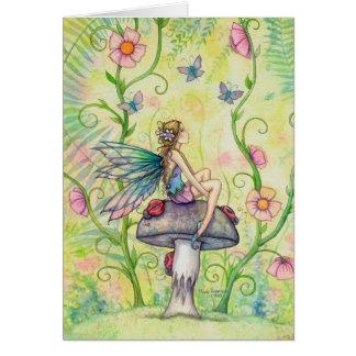 Eine glückliche Platz-Blumen-feenhafte Grußkarte