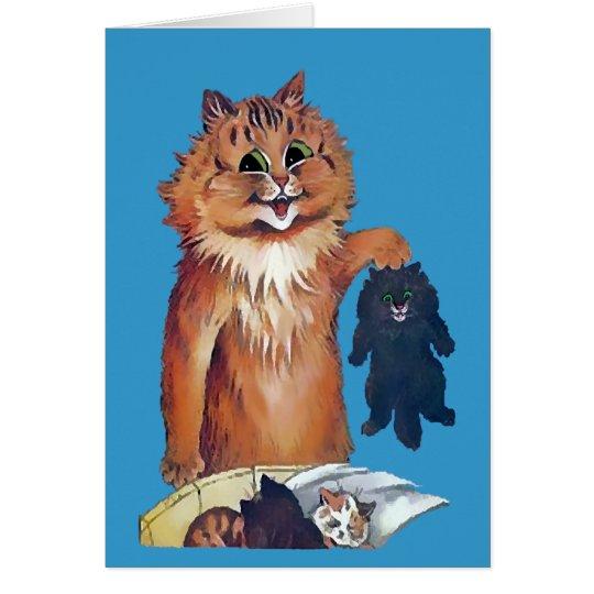 Eine Katze führt zu eine andere Katzen-Karte Grußkarte