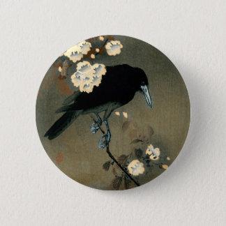 Eine Krähe und eine Blüte durch Ohara Koson Vintag Runder Button 5,1 Cm
