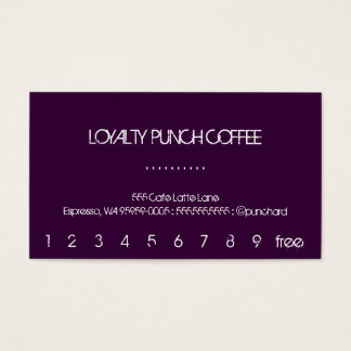 Eine Loyalitäts-Kaffee-Lochkarte Visitenkarten