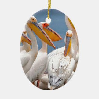 Eine Menge der Pelikane Ovales Keramik Ornament