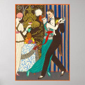 Eine Nacht im dekadenten Paris-Kunst-Deko-Plakat