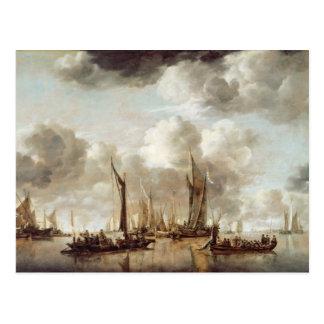 Eine niederländische Yacht, die einen Gruß Postkarte