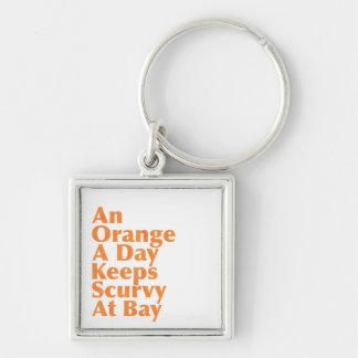 Eine Orange ein Tag behält Skorbut an der Bucht Schlüsselanhänger