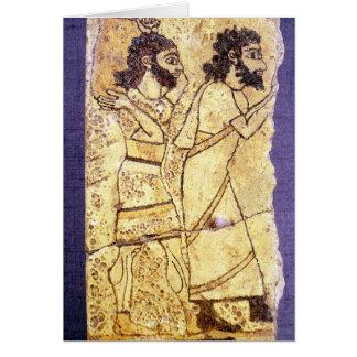Eine Plakette, die das Gehen mit zwei Männern Karte