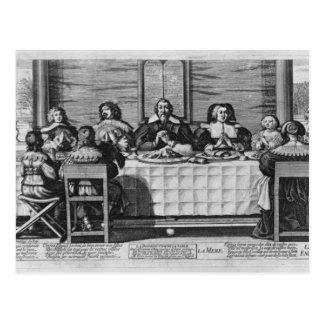 Eine protestierende Familie, welche die Mahlzeit Postkarte