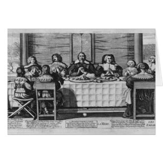 Eine protestierende Familie, welche die Mahlzeit s Grußkarte