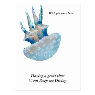 Eine schöne Polka punktierte Qualle Postkarte