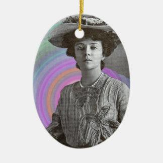 Eine starke Frau Vintage Keramik Ornament