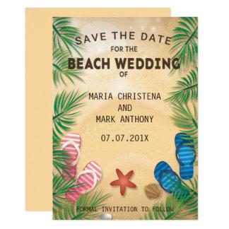 Eine Strand-Hochzeits-Save the Date Mitteilung 12,7 X 17,8 Cm Einladungskarte