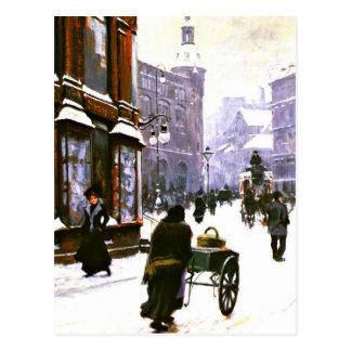 Eine Straßen-Szene im Winter, Kopenhagen Postkarte