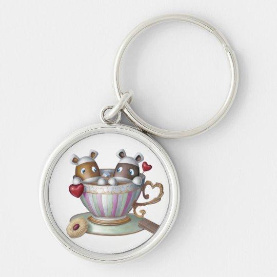 Eine Tasse Tee u. eine Scheibe von Bake® - meine Silberfarbener Runder Schlüsselanhänger