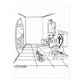 Eine Toilette verwirrt durch einen Hintern-Sprung Postkarten