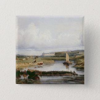Eine umfangreiche Fluss-Landschaft mit Blick auf Quadratischer Button 5,1 Cm