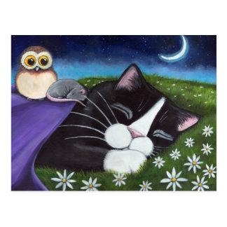 Eine wachsame Fantasie-Smokings-Katzen-Kunst des Postkarte