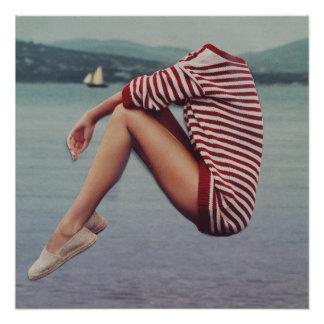 Eine warme Strickjacke auf dem Hafen Poster