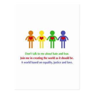Eine Welt der Gleichheit, der Gerechtigkeit und Postkarte