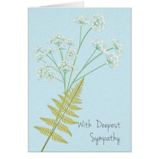 Einfach angegebenes Beileid mit Blumen und Farnen Karte