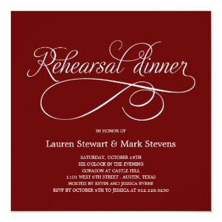 Einfach elegante Proben-Abendessen-Einladung (rot) Quadratische 13,3 Cm Einladungskarte