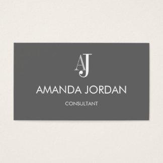 Einfach Initialen-Visitenkarte - Grau Visitenkarte
