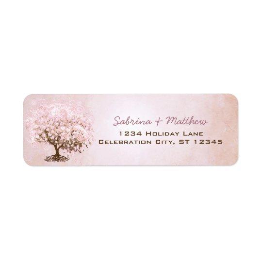 Einfach rosa blasser Hartriegel-Herz-Blatt-Baum Kleiner Adressaufkleber