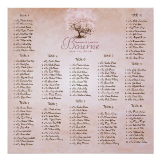 Einfach rosa Herz-Blatt-Baum-Liebe-Vogel-Hochzeit Poster
