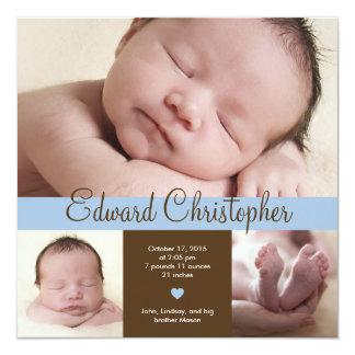 Einfach wertvolle Geburts-Mitteilung - Blau Quadratische 13,3 Cm Einladungskarte