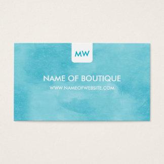 Einfache Aquachic-Butike-Monogramm-sozial-Medien Visitenkarte