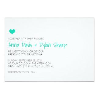 Einfache blaue Herz-Hochzeits-Einladung Karte