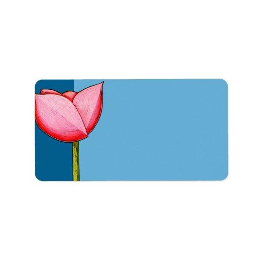 Einfache Blumen-blaues Adressen-Etikett Adress Aufkleber