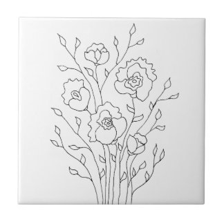 Einfache Blumen Keramikfliese
