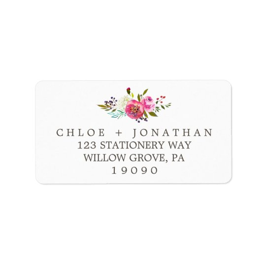 Einfache BlumenAquarell-Blumenstrauß-Hochzeit Adressaufkleber