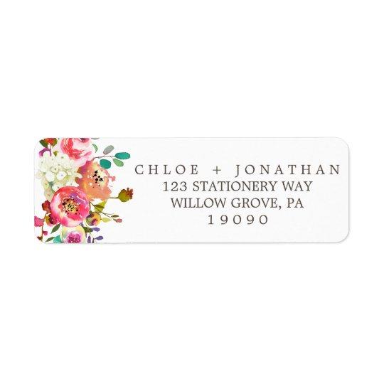 Einfache BlumenAquarell-Blumenstrauß-Hochzeit Kleiner Adressaufkleber