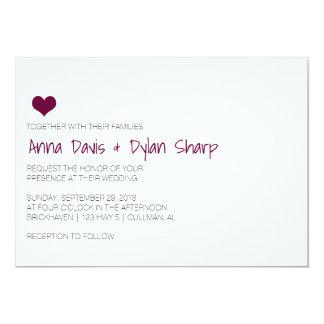 Einfache Burgunder-Herz-Hochzeits-Einladung 12,7 X 17,8 Cm Einladungskarte