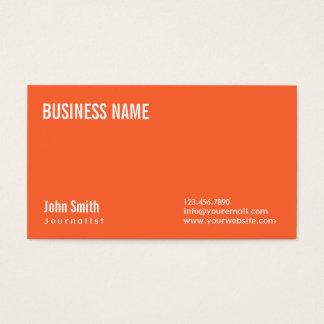 Einfache einfache orange Journalist-Visitenkarte Visitenkarte