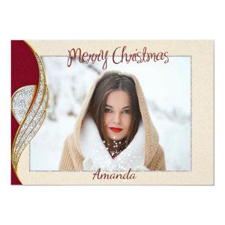 Einfache elegante Foto-Weihnachtskarte Karte
