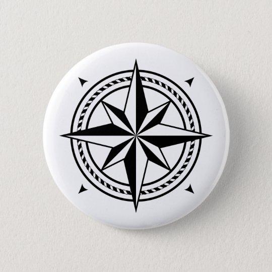 Einfache, elegante Schwarzweiss-Kompass-Rose Runder Button 5,1 Cm
