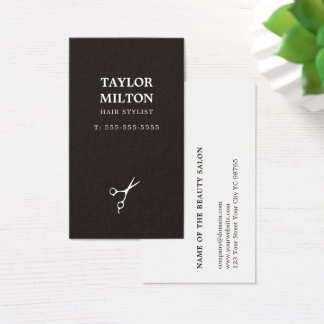 Einfache elegante Schwarzweiss Scissor Friseur Visitenkarten
