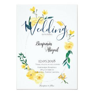 Einfache elegante Wedding Frühlings-Gelb-Blumen Karte