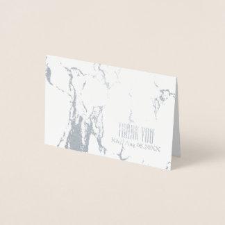 Einfache Hochzeits-weißer Marmor danken Ihnen Folienkarte