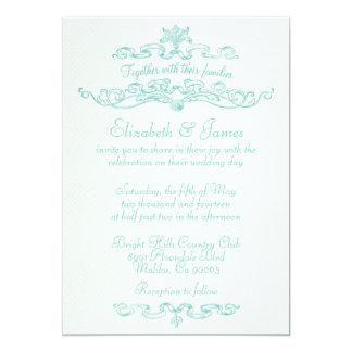 Einfache Luxusaqua-Hochzeits-Einladungen 12,7 X 17,8 Cm Einladungskarte