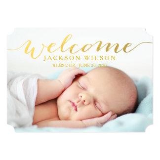 Einfache moderne Baby-Geburts-Foto-Mitteilung 12,7 X 17,8 Cm Einladungskarte
