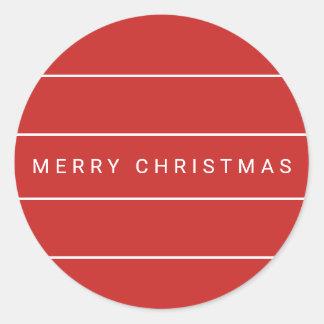 Einfache moderne frohe Weihnachten Runder Aufkleber
