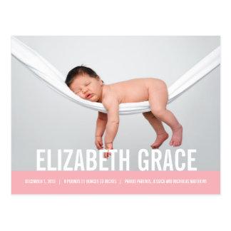 EINFACHE moderne Geburts-Mitteilung Postkarte