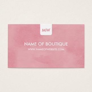 Einfache rosa Chic-Butike-Monogramm-sozial-Medien Visitenkarte