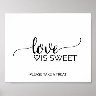 Einfache Schwarz-weiße Kalligraphie-Liebe ist Poster