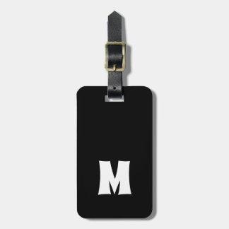 Einfache Schwarz-weiße Linien mutiges Monogramm Gepäckanhänger