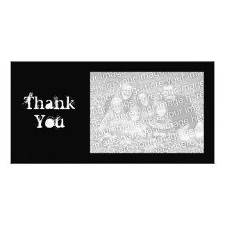Einfache Schwarzweiss-grungy danken Ihnen Fotokartenvorlagen