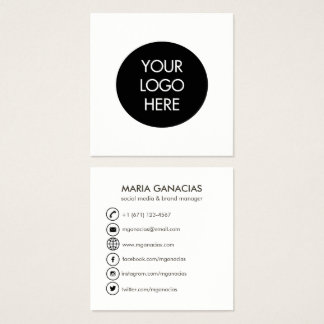 Einfache Schwarzweiss-Sozialmedium-Visitenkarte Quadratische Visitenkarte